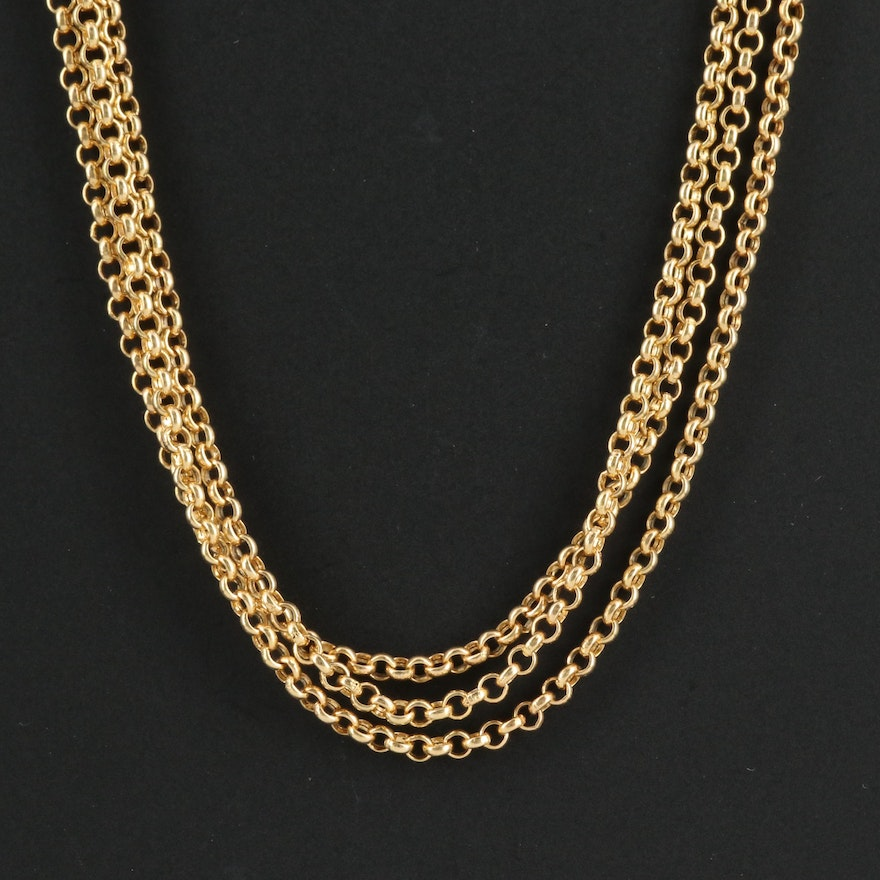 14K Gold Triple-Strand Rolo Chain Necklace