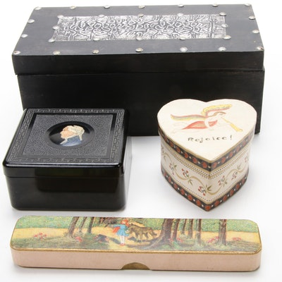 Pen Box, Trinket Boxes and Decorative Box, Mid to Late 20th Century