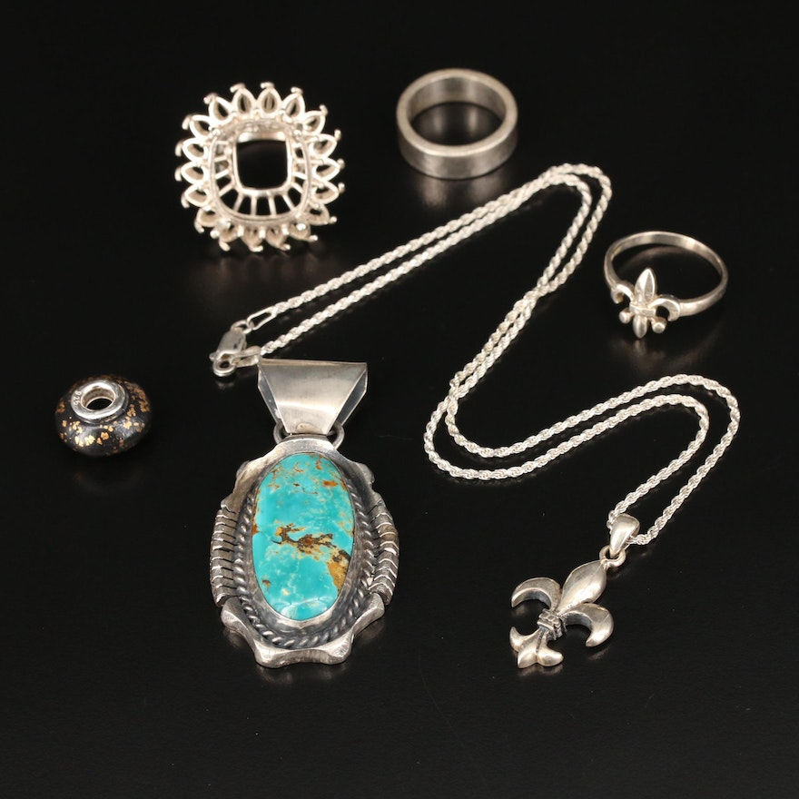 Assorted Sterling Jewelry Featuring Albert Yazzie Navajo Diné Pendant
