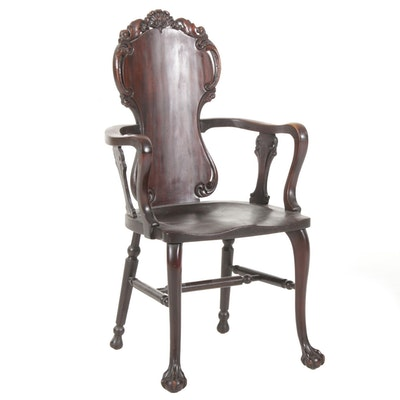 R. J. Horner Late Victorian Carved Back Wooden Armchair, Early 20th Century