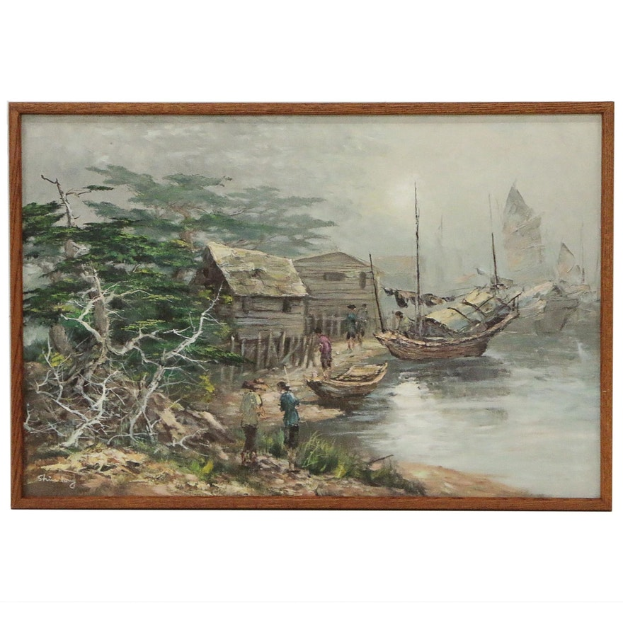 Oil Painting of Fishing Village, Late 20th Century
