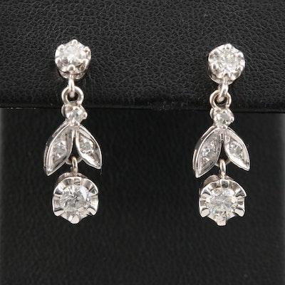 Circa 1950 14K White Gold Diamond Flower Dangle Earrings