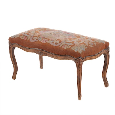 Louis XV Style Carved Beech and Needlepoint Tabouret, 20th Century