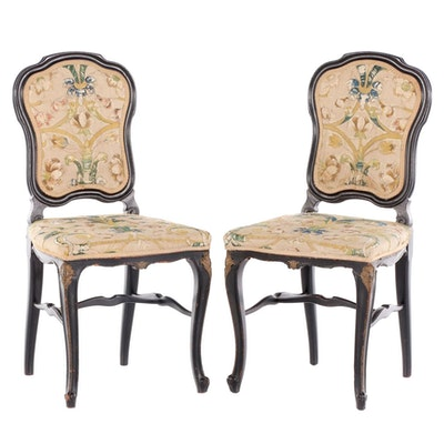 Pair of Louis XV Style Ebonized, Parcel-Gilt, and Embroidered Side Chairs
