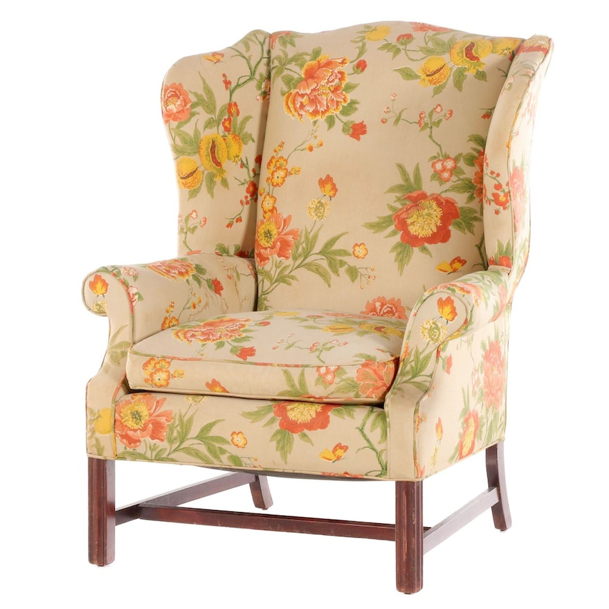 Chippendale Style Mahogany-Stained and Floral-Upholstered Wingback Armchair