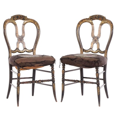 Pair of Victorian Ebonized, Parcel-Gilt, and Needlepoint Side Chairs