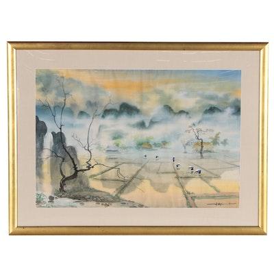 East Asian Landscape Gouache Painting, Late 20th Century