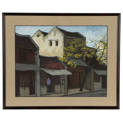 Hanoi Street Scene Gouache Painting, 1993