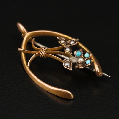 Victorian 9K Turquoise and Seed Pearl Wishbone Brooch