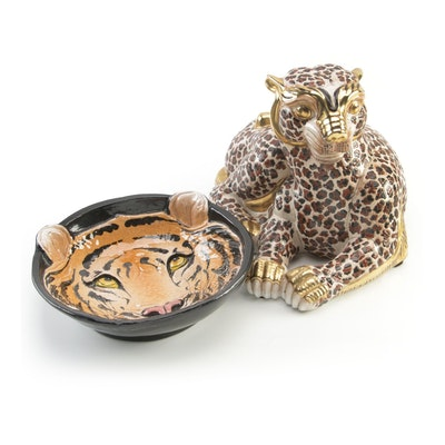 Italian Hand-Painted Tiger Dish with Ceramic Cheetah, Late 20th Century