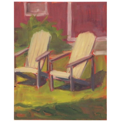 "Rita Rozzi Oil Painting ""Plein Air Sketch - Rockland, Maine"""