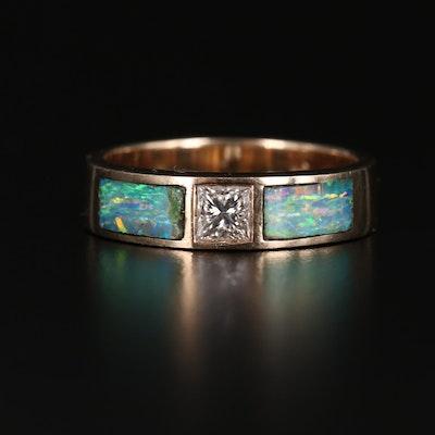 14K Diamond and Opal Inlaid Band