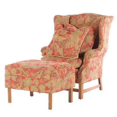 Chippendale Style Upholstered Wing Back Arm Chair and Stool, Late 20th Century