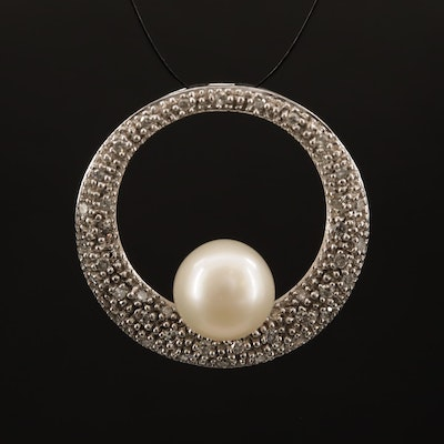 14K Pearl and Diamond Circle Pendant