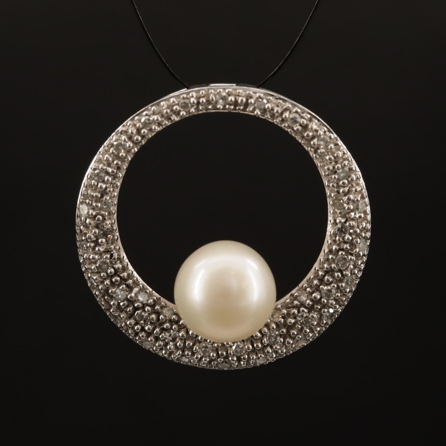 14K Pearl and Diamond Circle Pendant