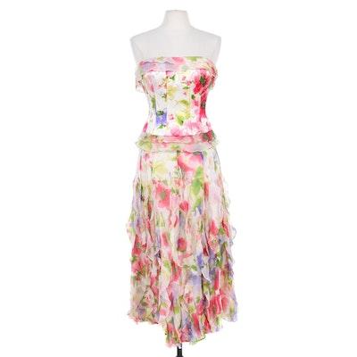 Rickie Freeman for Teri Jon Beaded Multicolor Silk Strapless Corset with Skirt