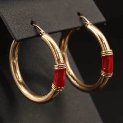 14K Enamel Hoop Earrings