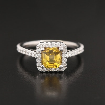 14K 1.24 CT Untreated Yellow Sapphire and Diamond Ring