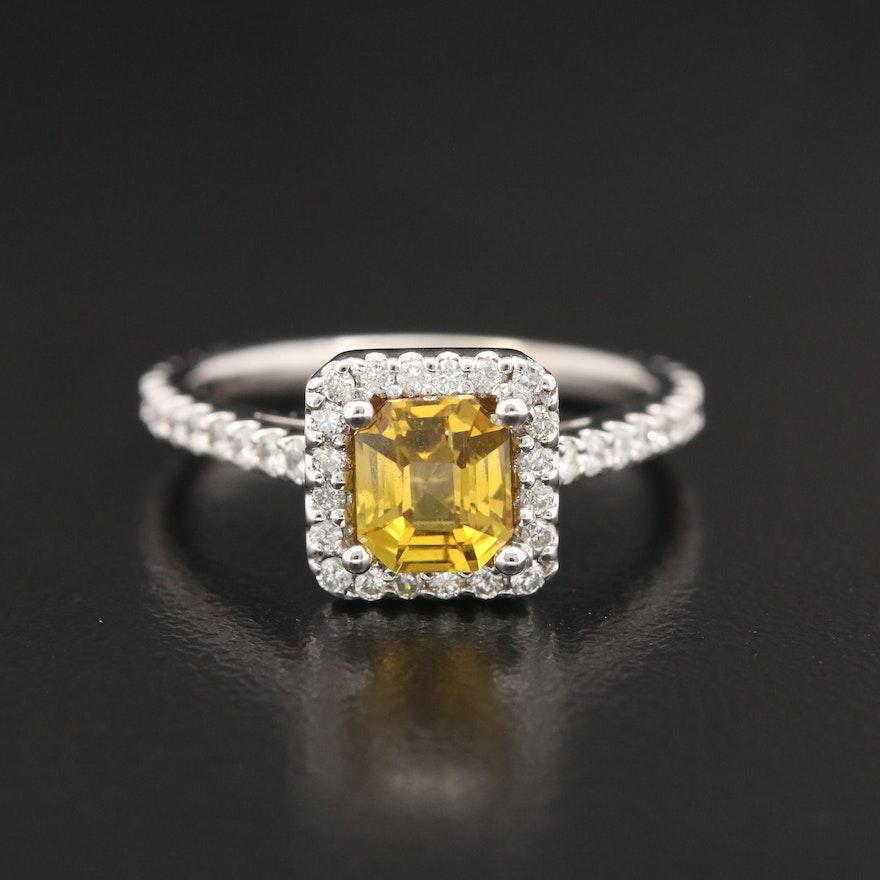 14K 1.24 CT Untreated Yellow Sapphire and Diamond Ring