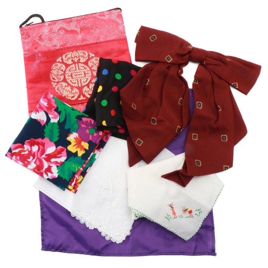 Embroidered Crossbody Pouch, Handkerchiefs and Accessory Bow