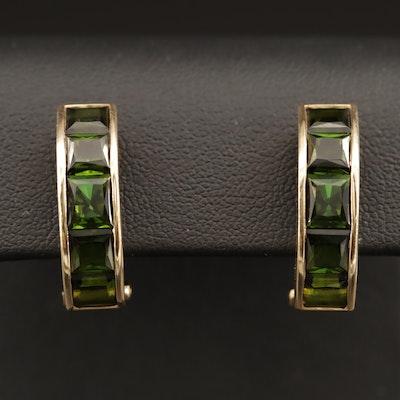 14K Tourmaline J Hoop Earrings