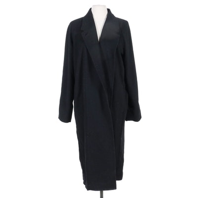 Uniqlo and Lemaire Black Wool and Cashmere Open Front Coat
