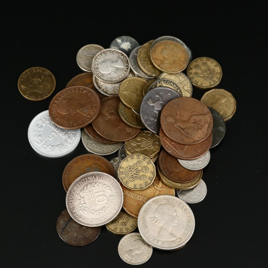 Assortment of Fifty-Two Antique to Vintage Foreign Coins, Including Silver