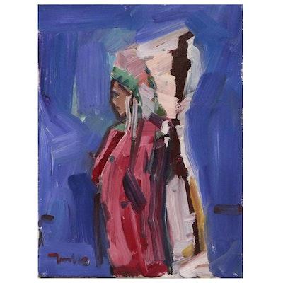 """Jose Trujillo Oil Painting on Canvas """"The Headdress"""""""