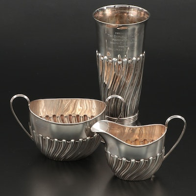Mappin Bros Sterling Creamer and Waste Bowl with Sterling Trophy Vase, 1889–1894
