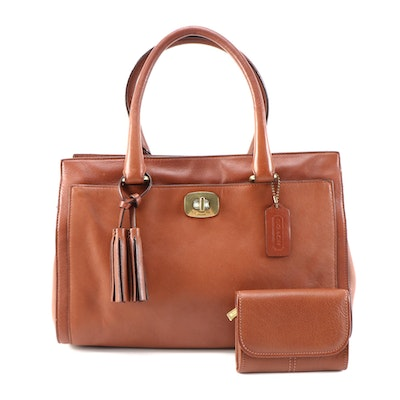 Coach Chelsea Handbag in Cognac Brown Leather with Small Leather Wallet