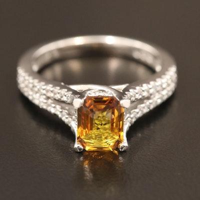 14K 1.64 CT Untreated Orange Sapphire and Diamond Ring