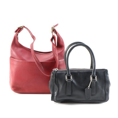 Coach Red Glove-Tanned Leather Shoulder Bag and Black Leather Handbag