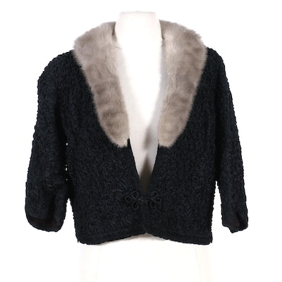 Black Ribbon Work Cropped Jacket with Tourmaline Mink Fur Collar, Vintage