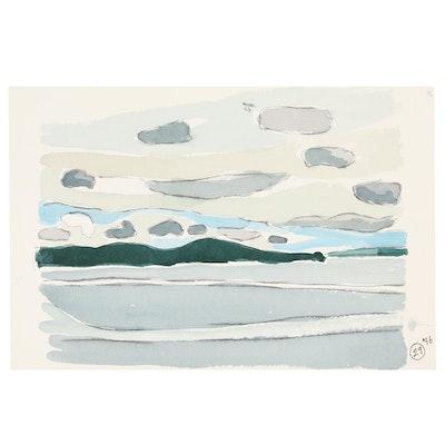 Robert Herrmann Landscape Watercolor Painting, 1995