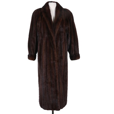 Adolfo Mahogany Mink Fur Full-Length Coat with Banded Cuffs, Vintage