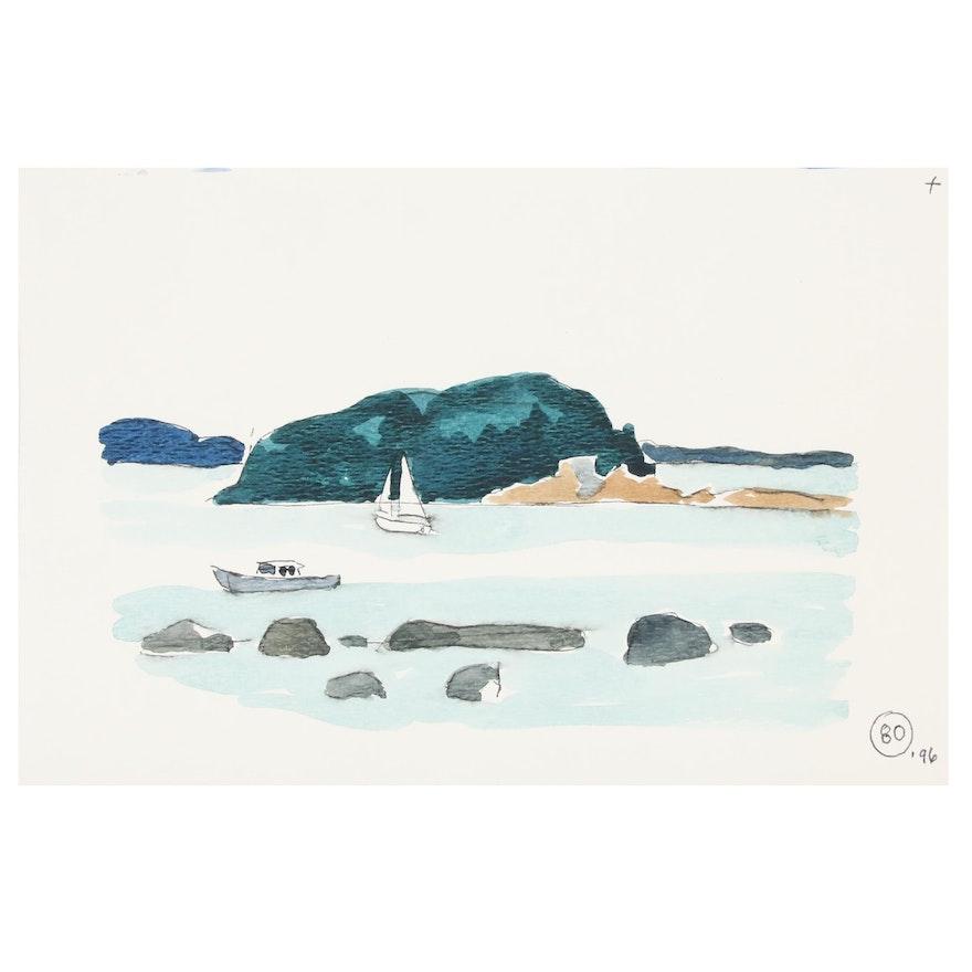Robert Herrmann Landscape Watercolor Painting, 1996