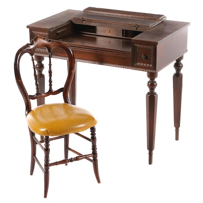 Mahogany Spinet Desk, Early 20th Century and Side Chair, Mid-19th Century