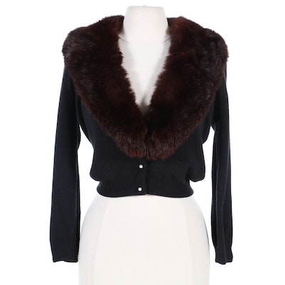 Cashmere and Wool Cardigan with Dyed Rabbit Fur Collar, Mid-20th Century