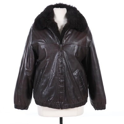 Black Leather Zipper Front Jacket with Dyed Australian Possum Fur Lining