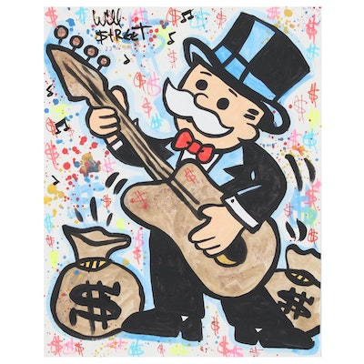 Will $treet Mixed Media Painting of Monopoly Man with Guitar