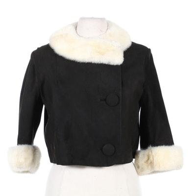 Samuel Robert Black Cropped Jacket with Platinum Mink Fur Trim, Mid-20th Century