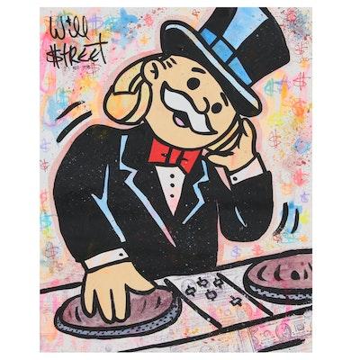 Will $treet Mixed Media Painting of Monopoly Man DJ