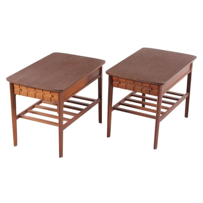 Pair of Mersman Mid Century Modern Walnut and Laminate End Tables