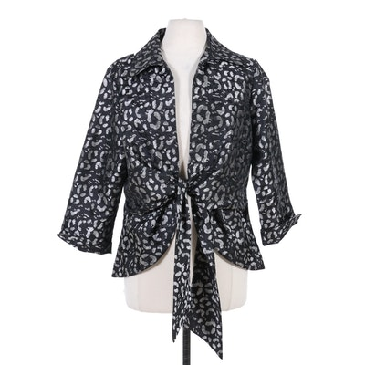 Mishca Metallic and Black Leopard Print Tie-Front Jacket
