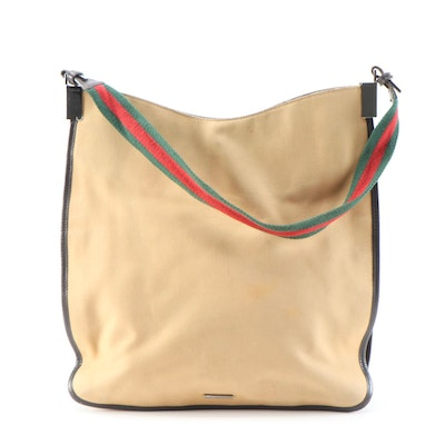 Gucci Tan Canvas and Signature Web Strap Shoulder Bag