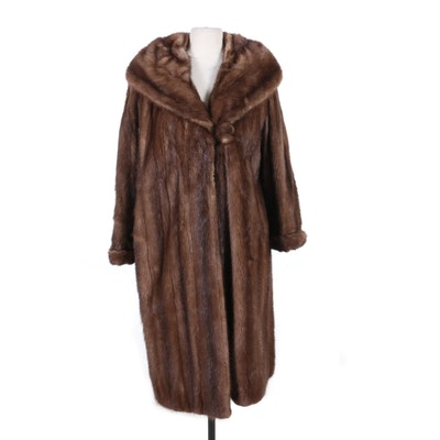 Mink Fur Coat with Shawl Collar, Mid to Late 20th Century