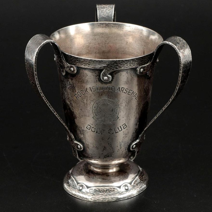 Gorham Hammered Sterling Silver Loving Cup Golf Trophy, Engraved 1908