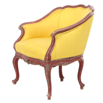 Louis XV Style Polychromed Bergère, 20th Century
