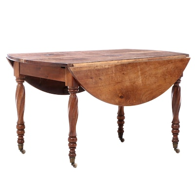 French Provincial Walnut Drop-Leaf Table, 19th Century