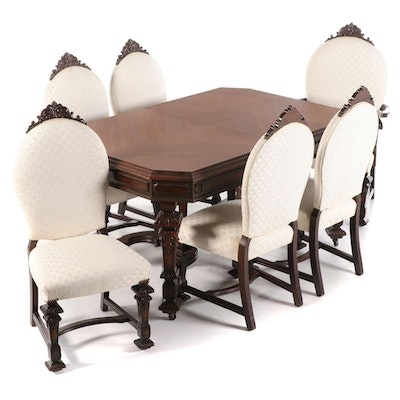 Seven-Piece Rockford Furniture Co. Baroque Style Walnut Dining Suite